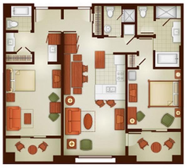 grand-californian-villas two-bedroom layout