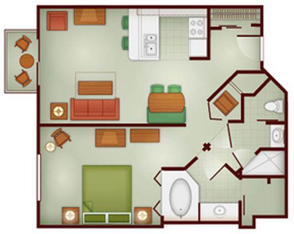 wilderness-lodge one-bedroom layout