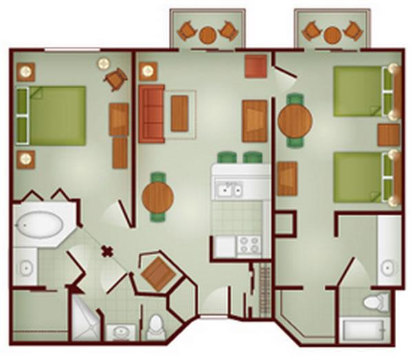wilderness-lodge two-bedroom layout